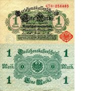 """Germany 1 Mark Pick #: 51 1914 FOther Red Serial # and Seal Green Designs; EagleNote 3 3/4"""" x 2 1/4"""" Europe None Discernible"""