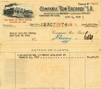 1957 Cuba Bacardi Rum Co. Check To Family Member Emilio Bacardi Rosell