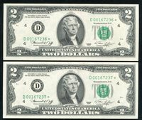(2) CONSECUTIVE FR. 1935-D* 1976 $2 *STAR* FRN'S CLEVELAND, OH GEM UNCIRCULATED
