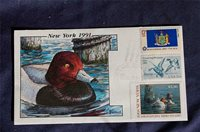 Milford New York 1991 $5.50 Duck Stamp FDC HP Collins Sc#NY7 W/2092, & 1643