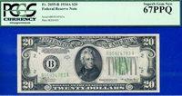 Top Pop FR-2055-B 1934-A $20 FRN (( BA Block )) PCGS Superb-67PPQ # B95924783A.