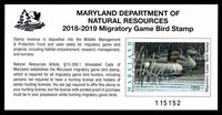 2018 MARYLAND DUCK STAMP - MD-45 - MOGNH - VF/XF (ESP STOCK)