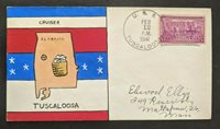 1941 Hand Painted USS Tuscaloosa Cruiser Weigand Naval Cover