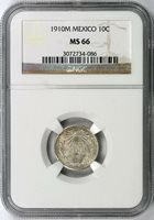 1910-M Mexico Silver 10 Centavos NGC MS66