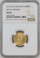 EGYPT , GOLD 50 PIASTRES KING FAROUK 1938 UNC - NGC MS 64 , RARE
