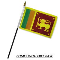 SRI LANKA FLAG DESK SET WITH BASE 4x6 INCHES - TABLE STICK FLAG
