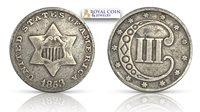 1853 3¢ Silver Three Cent VG+