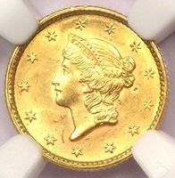 1851 Liberty Gold Dollar Coin G$1 - NGC Uncirculated Detail (UNC) - Rare MS Coin