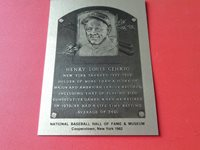LOU GEHRIG C.TOWN METAL HOF PLAQUE STYLE CARD - 1000 MADE MINT !!
