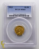 1913 $2.50 Quarter Eagle Indian Head Gold Coin Graded by PCGS as MS-64