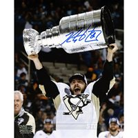 Kris Letang Pittsburgh Penguins Signed Autographed Raising Stanley Cup 8x10