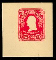 U396 2c Carmine on Amber, Mint Cut Square