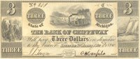 Sault De St. Mary Bank of Chippeway 1838 $3 Unl SAU-1-4 395-G4 -- A primitive passenger train is featured in the central vignette with larger full uniform margins and good centering Ch CU