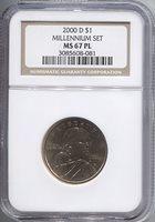 2000-D Millenium Set Sacagawea Dollar NGC MS67PL Sacagawea Dollar