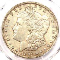1901 Morgan Silver Dollar $1 - PCGS AU53 - Near UNC/MS - Rare Date 1901-P Coin!