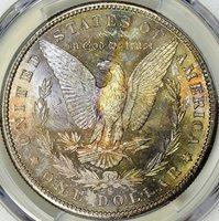 1880-S MORGAN SILVER DOLLAR - PCGS MS63 - OBVERSE MIRRORED, REVERSE SUPER TONED