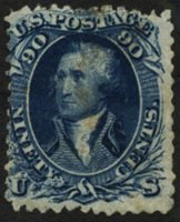 Scott 72, Avg. HH, faults, 1861 90c blue