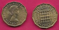 GREAT BRITAIN 3 PENCE 1961 CROWNED PORTCULLIS,ELIZABETH II BUST RIGHT,WITHOUT BR
