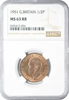 1951 MS63 RB Great Britain Half Penny NGC UNC KM# 868 POP 2/0/1 163 POINTS!