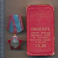 ROMANIAN medal ROMANIA ORDER communist homeland defense SECURITATE 3rd RPR + Box
