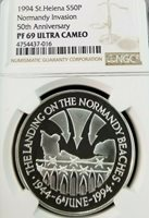 1994 SAINT HELENA S50P NORMANDY INVASION NGC PF 69 ULTRA CAMEO TOP POP SCARCE