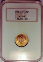 1913-S FINLAND/RUSSIAN DUCHY 10 MARKKAA GOLD COIN NGC MS-66 SUPERB GEM BU