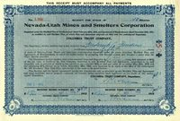 Nevada-Utah Mines and Smelters Corporation - Stock Certificate