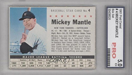 Mickey Mantle Baseball Card 1961 Post Cereal 42