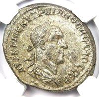 Roman Antioch Trajan Decius BI Tetradrachm Coin 249-251 AD - NGC Choice AU