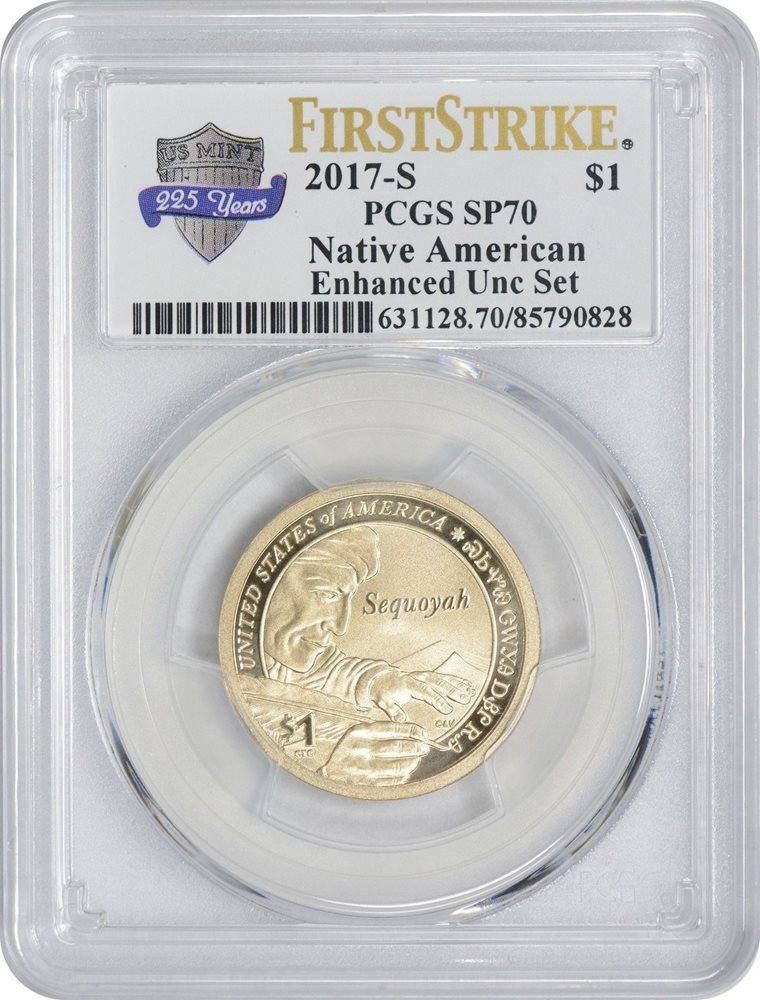 2017 s enhanced uncirculated Sacagawea dollar from the 225th anniversary set