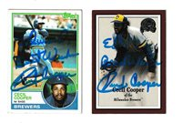 Lot Of (2) Cecil Cooper Signed Autograph Baseball Cards Personalized To Ed
