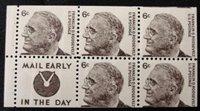 1284c 6c F.D. Roosevelt, Booklet Pane of 5 Slogan 4 F-VF Mint N[1284bsl4]