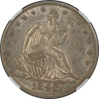 1848 Liberty Seated Half Dollar NGC AU50 WB-103