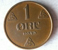 1940 NORWAY ORE- Excellent Coin - FREE SHIP - Bin #322