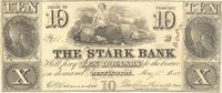 Bennington Stark Bank 1849 $10 Unl 26 15-S10 60-S20 A tough to locate spurious issue; this with tight full uniform margins, engraved by Danforth & Hufty, clean VF+