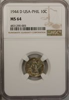Philippines 10 Centavos 1944 D NGC MS 64 UNC