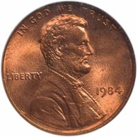 1984 DOUBLED DIE OBVERSE Lincoln Cent 1C NGC MS65RD