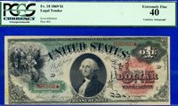 *FR-18 1869 $1 Legal Tender RAINBOW (( RARE Wyman Autograph )) PCGS XF-40 96868