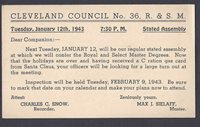 1943 CLEVELAND COUNCIL R & S M CONFER MASTERS DEGREE. SEE INFO