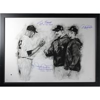 Derek Jeter/Mariano Rivera/Andy Pettitte Triple Signed w/ Insc and Framed Limited Edition 26x36 Hintz Studios Fine Art Print (LE/100) (Flat Black Frame)