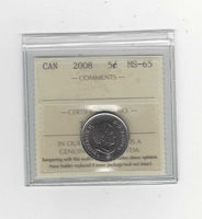 2008, ICCS Graded, Canadian Five Cent, **MS-65**