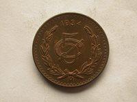 Mexico 1934 5 Centavos Large Copper