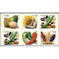 #4017d Crops of The Americas, Pane of Six from Vending Booklet