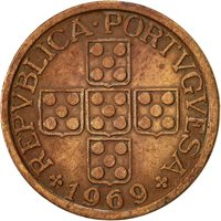 Portugal, 50 Centavos, 1969, EF(40-45), Bronze, KM:596