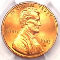 1983-D Lincoln Memorial Cent 1C Penny - Certified PCGS MS68 RD - $425 Value!