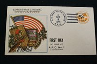 PATRIOTIC COVER 1946 HAND CANCEL 1ST DAY OF ISSUE AT APO #1 TEXEIRA COVER (3673)