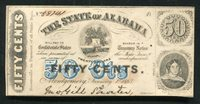 1863 50 FIFTY CENTS THE STATE OF ALABAMA MONTGOMERY, AL OBSOLETE SCRIP NOTE UNC