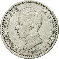 Spain, Alfonso XIII, 50 Centimos, 1904(04), EF(40-45), Silver, KM:723