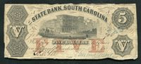 1857 $5 STATE BANK SOUTH CAROLINA CHARLESTON, SC OBSOLETE CURRENCY NOTE (C)
