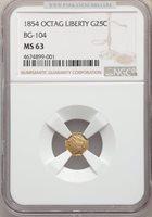 1854 Liberty Octagonal 25 Cents MS63 NGC